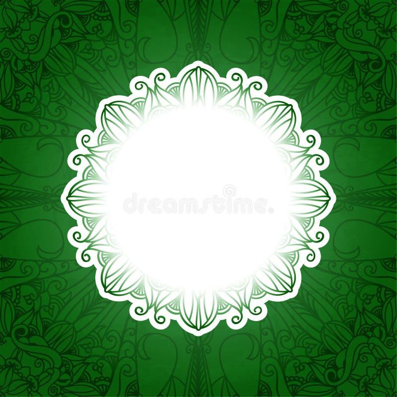 Bandeira floral do vintage verde Grama do vetor ilustração royalty free