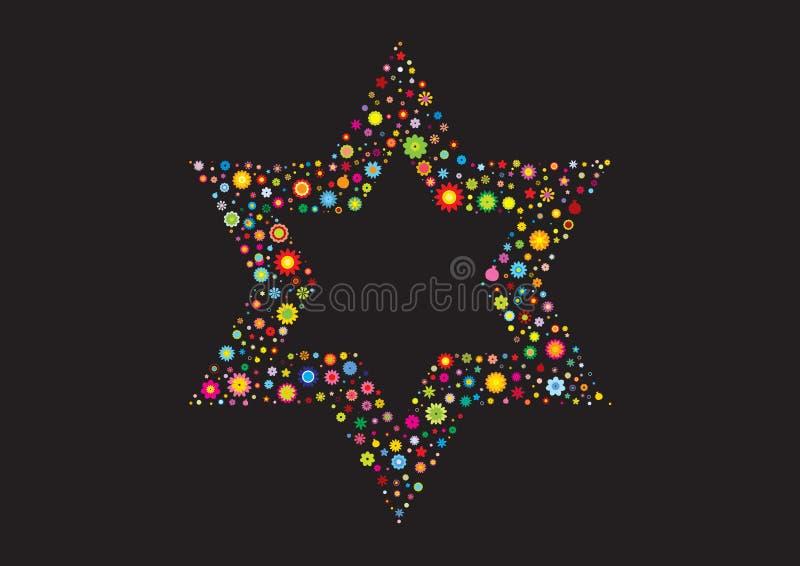 Bandeira floral israelita Magen David foto de stock