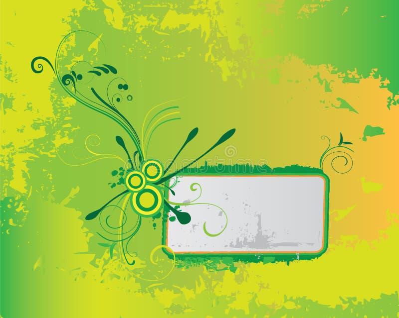 Bandeira floral verde do grunge ilustração do vetor