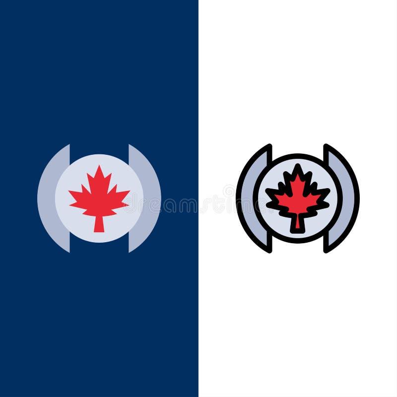 Bandeira, folha, ícones da árvore O plano e a linha ícone enchido ajustaram o fundo azul do vetor ilustração stock