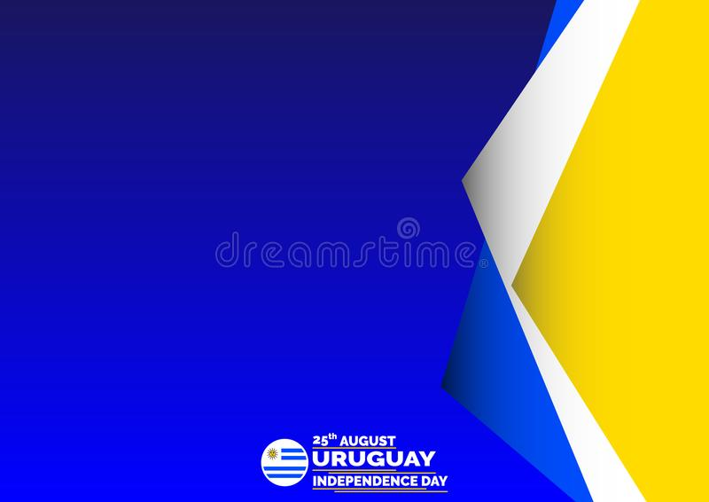 Bandeira, folheto, inseto ou cartaz da celebração do Dia da Independência de Uruguai Bandeira de ondulação Ilustração EPS do veto ilustração royalty free