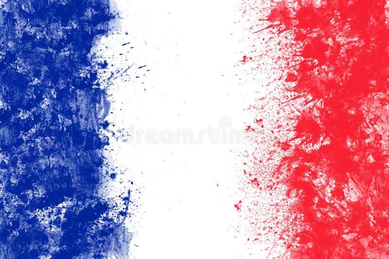 A bandeira francesa criada do respingo colore o vermelho branco azul ilustração stock