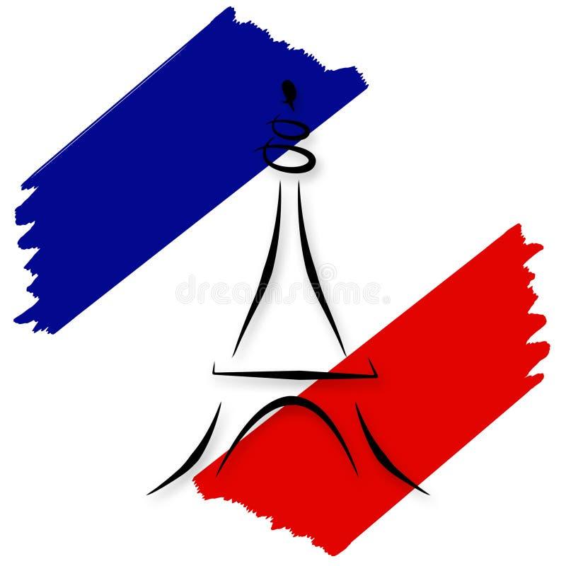 Bandeira francesa estilizado e torre Eiffel ilustração royalty free