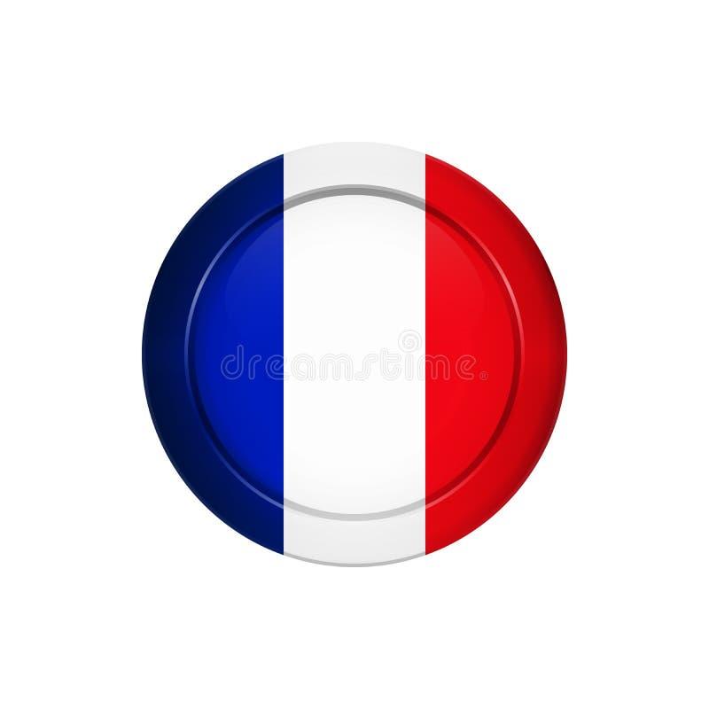 Bandeira francesa no botão redondo, ilustração ilustração royalty free