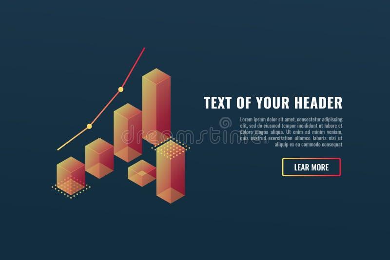 Bandeira fresca com cartas, conceito do visualização dos dados, crescendo acima, vetor isométrico do sucesso comercial ilustração stock