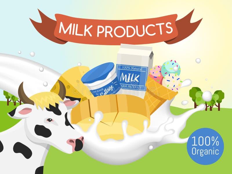 Bandeira fresca do conceito de produtos l?teos, ilustra??o do vetor do cartaz Org?nico, alimento da qualidade Grandes gosto e nut ilustração stock