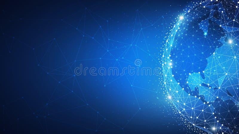 Bandeira futurista do hud da tecnologia de Blockchain com globo do mundo ilustração stock