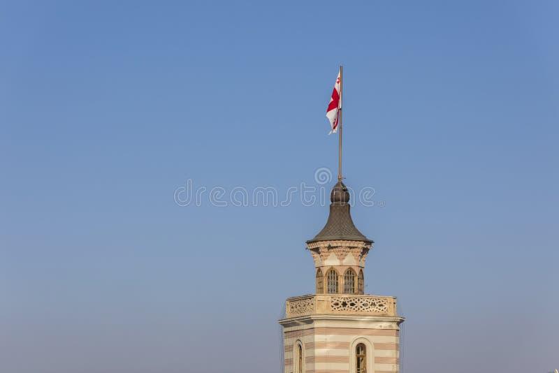 Bandeira georgiana na Praça da Câmara da Liberdade fotos de stock royalty free