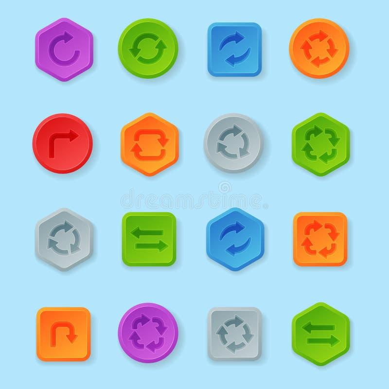 Bandeira gráfica lustrosa do molde da etiqueta da ilustração colorida do vetor do projeto dos botões da volta do Web site ilustração royalty free