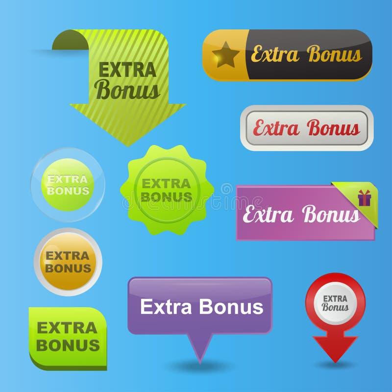 Bandeira gráfica lustrosa do molde da etiqueta da ilustração extra colorida do vetor do projeto dos botões do bônus do Web site ilustração royalty free