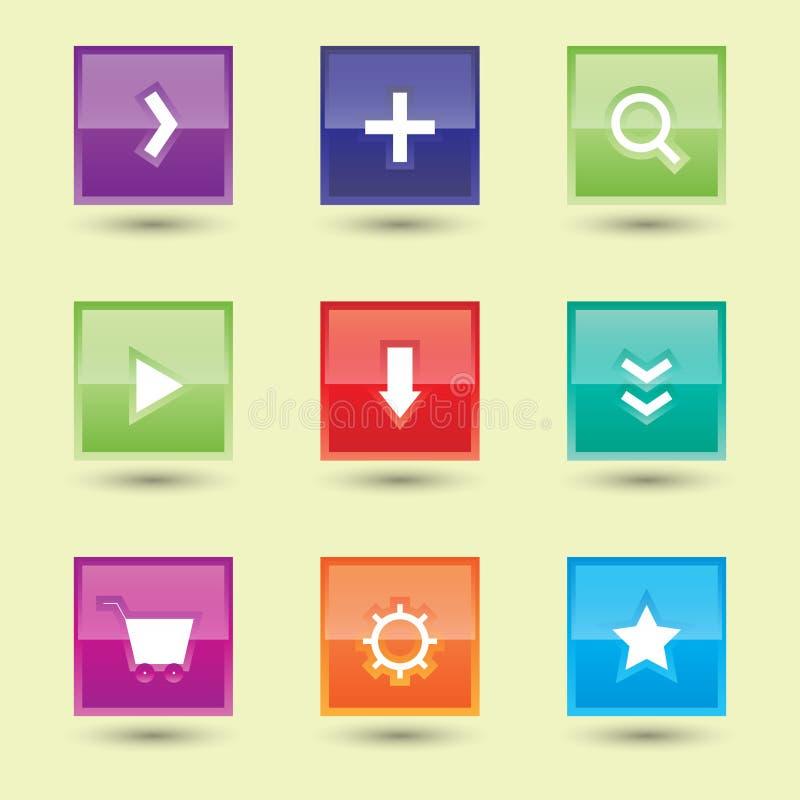 Bandeira gráfica lustrosa do molde do Internet da etiqueta da ilustração colorida do vetor do projeto dos botões do Web site ilustração do vetor