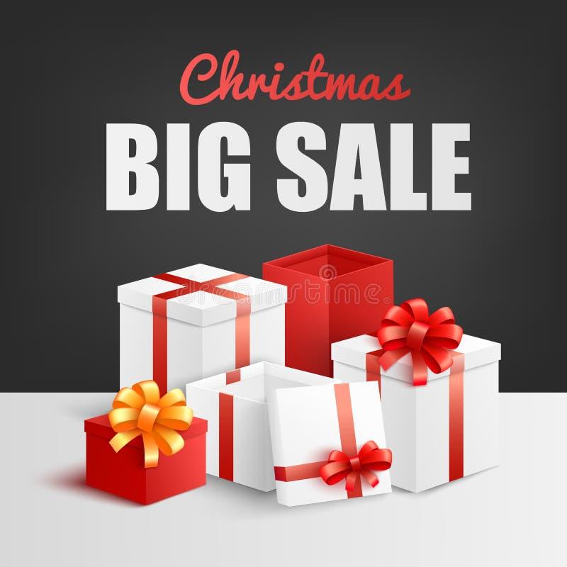 Bandeira grande da venda do Natal com a pilha das caixas de presente decoradas com fita e curva ilustração royalty free