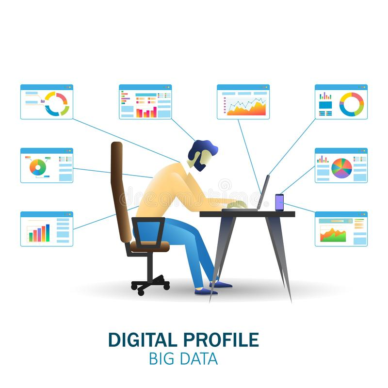 Bandeira grande da Web do conceito do vetor da tecnologia dos dados, página do Web site ilustração do vetor
