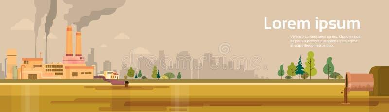 Bandeira grande do conceito da poluição ambiental do desperdício do lance da tubulação da opinião da fábrica com espaço da cópia ilustração do vetor