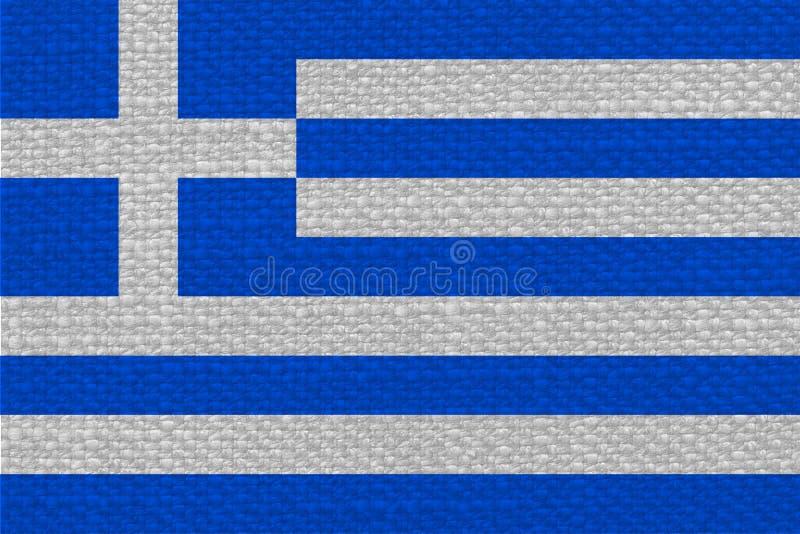 Bandeira grega de Grécia com textura da tela fotos de stock royalty free