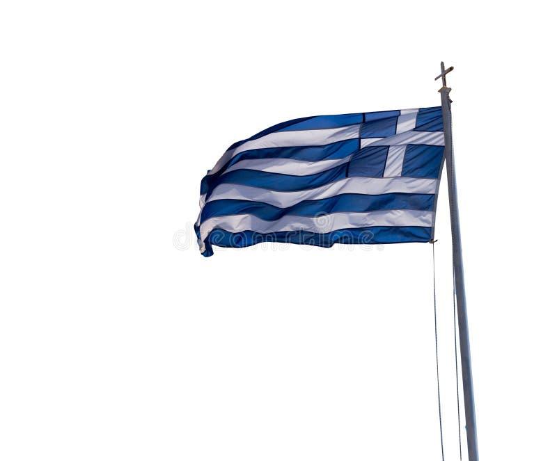 Bandeira grega que acena em nuvens greece do c?u azul fotografia de stock