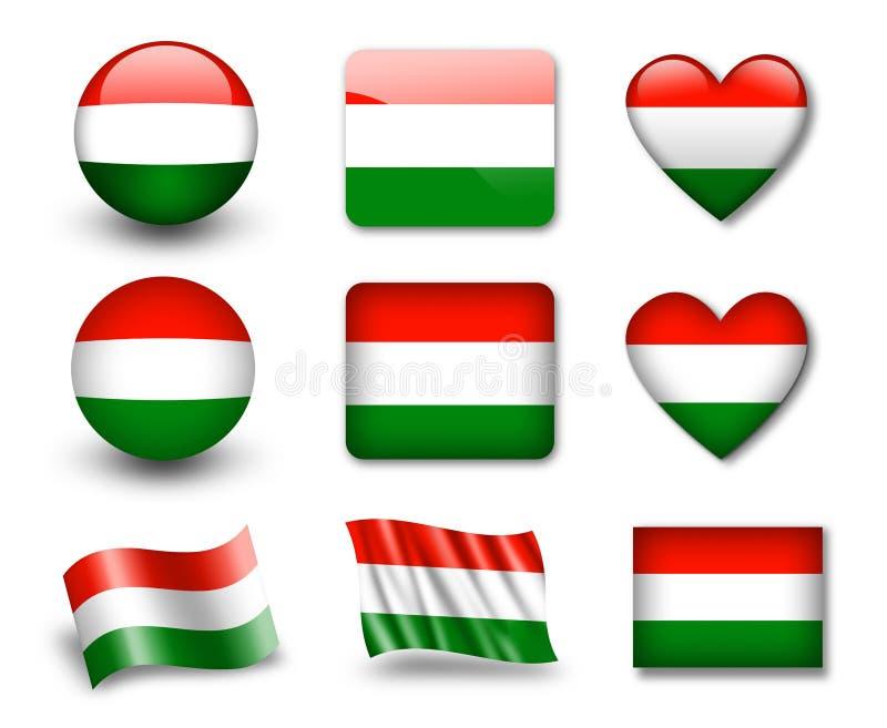 A bandeira húngara ilustração stock