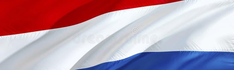 Bandeira holandesa Bandeira de Países Baixos projeto de ondulação da bandeira 3D, rendição 3D O símbolo nacional do papel de pare ilustração do vetor