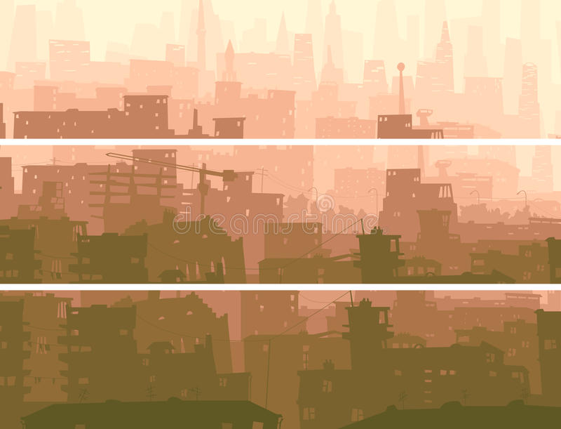 Bandeira horizontal abstrata da cidade grande no por do sol. ilustração stock