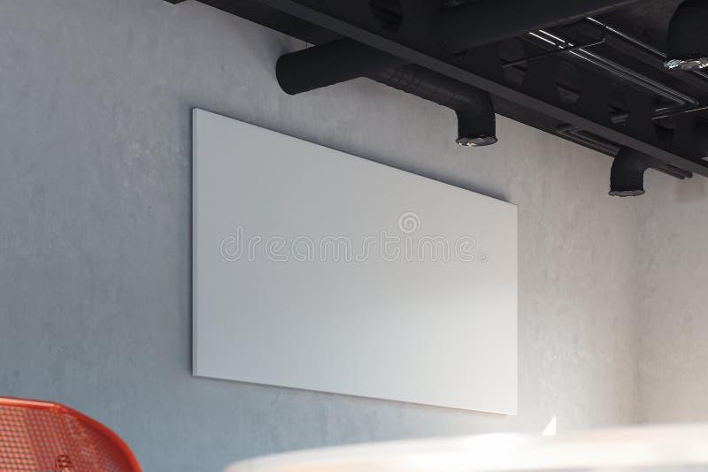 Bandeira horizontal branca da placa na parede brilhante, trocista acima rendi??o 3d ilustração royalty free