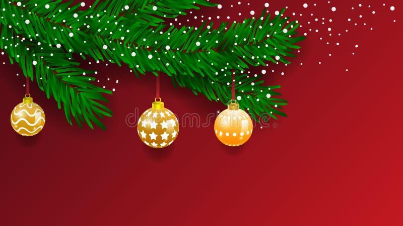 Bandeira horizontal com a festão e os ornamento da árvore de Natal Ouro e fitas de suspensão Grande para insetos, cartazes, encab ilustração royalty free