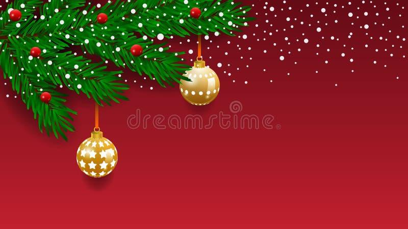 Bandeira horizontal com a festão e os ornamento da árvore de Natal Ouro e fitas de suspensão Grande para insetos, cartazes, encab ilustração stock