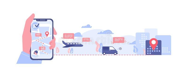 Bandeira horizontal com a mão que guarda o smartphone com o mapa na tela, vários tipos de transporte e marca de lugar pedido ilustração royalty free