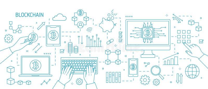 Bandeira horizontal com mãos, computador do monochorme, portátil, outros dispositivos eletrónicos, símbolos do bitcoin Blockchain ilustração royalty free