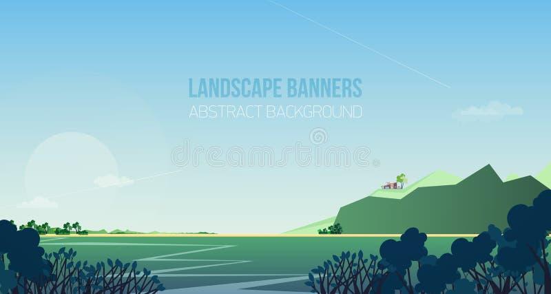Bandeira horizontal com paisagem lindo ou cenário do beira-rio Vista pitoresca com rio, arbustos ou arbustos, casa ou ilustração do vetor