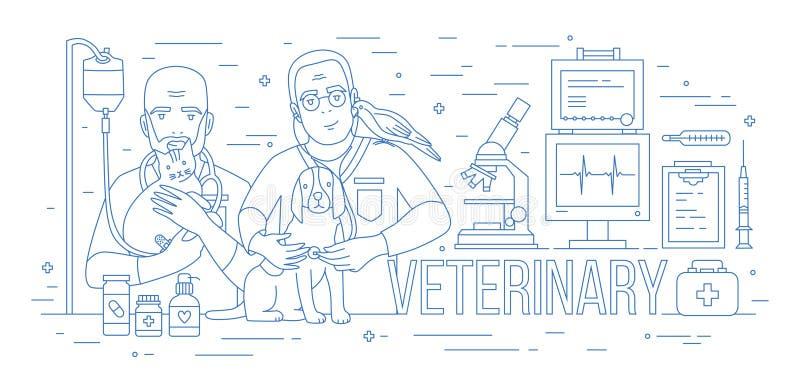 Bandeira horizontal com pares de veterinários que guardam o cão, o gato e o papagaio Dois veterinários de sorriso com animais de  ilustração do vetor