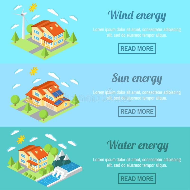 A bandeira horizontal da energia de Eco ajustou-se com casas da baixo-energia Turbina eólica, painéis solares e hidro central elé ilustração royalty free