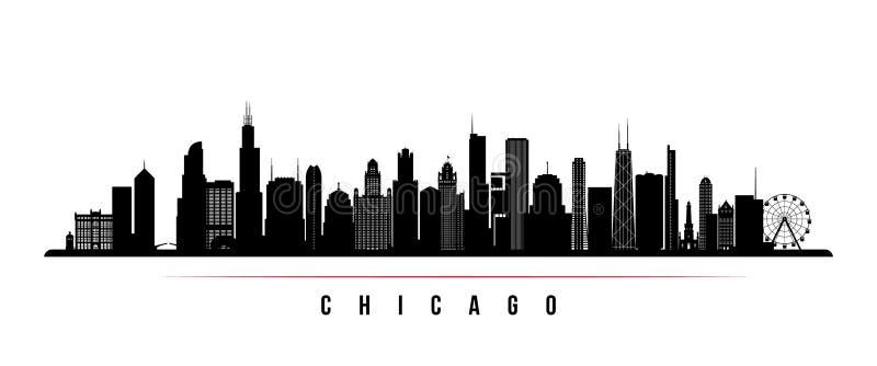 Bandeira horizontal da skyline da cidade de Chicago ilustração royalty free