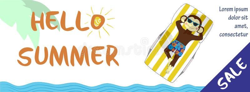 Bandeira horizontal da venda do verão com macaco bonito ilustração stock