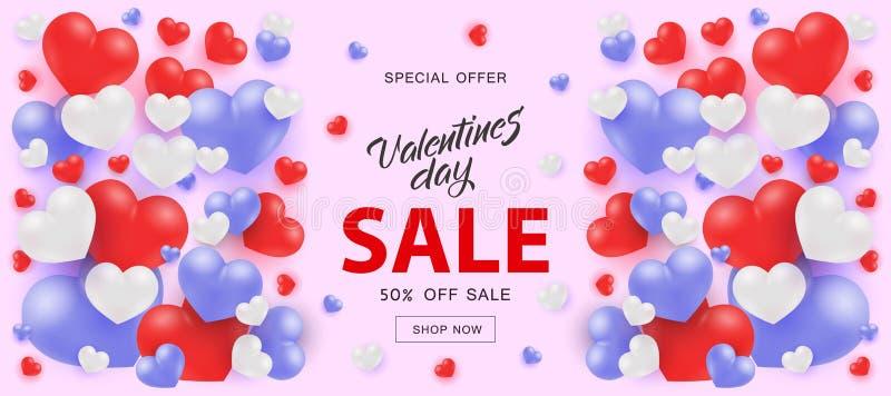 Bandeira horizontal de Valentine Day Sale com formas vermelhas e azuis brancas do coração ilustração stock