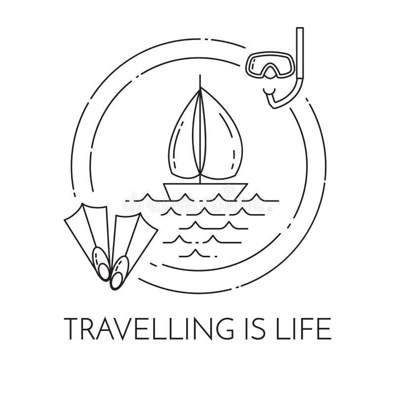 Bandeira horizontal de viagem com o veleiro em ondas, em aletas e na máscara de mergulho no círculo ilustração royalty free