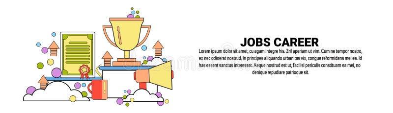 Bandeira horizontal do conceito do negócio do desenvolvimento de carreira dos trabalhos com espaço da cópia ilustração do vetor