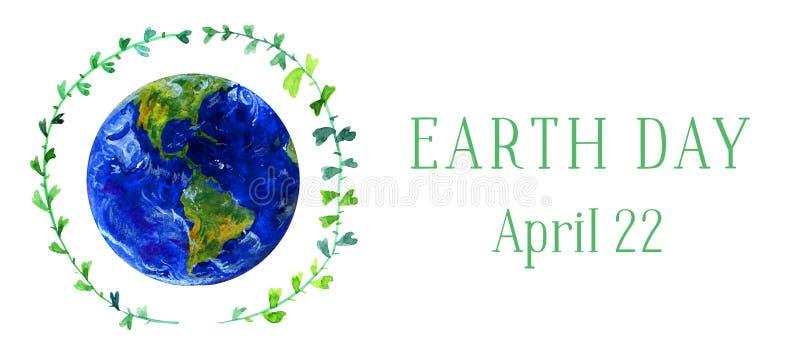 Bandeira horizontal do Dia da Terra Planeta da terra no círculo verde do galho Ilustração tirada mão da aguarela ilustração stock