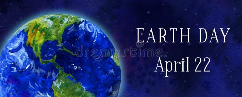 Bandeira horizontal do Dia da Terra Planeta da terra no espaço Ilustração tirada mão da aguarela ilustração do vetor