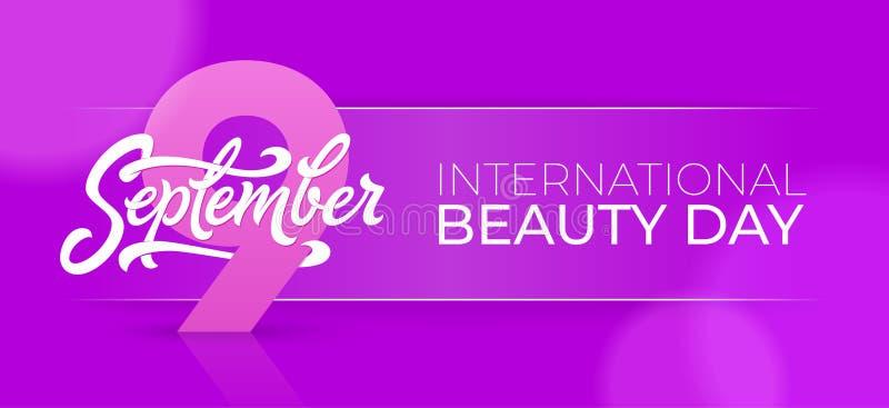 Bandeira horizontal do dia internacional da beleza com tipografia do 9 de setembro Ilustração bonita do vetor para o cartão ilustração royalty free