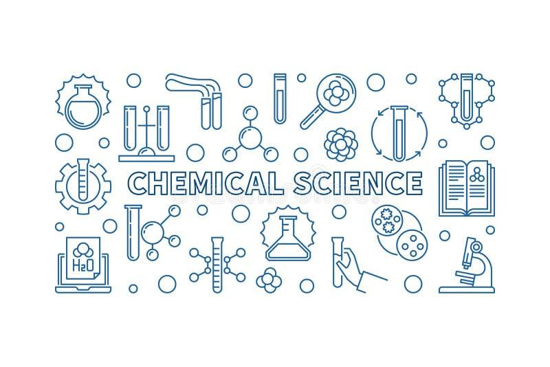 Bandeira horizontal do esboço mínimo do vetor da ciência química ilustração do vetor