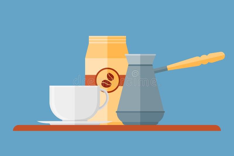 Bandeira horizontal do estilo liso da cafetaria Copo, potenciômetro e empacotamento de café ilustração stock