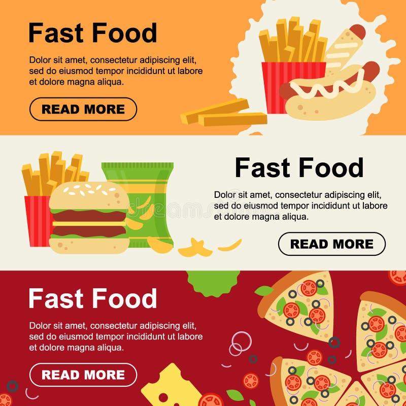 Bandeira horizontal do fast food para o projeto do menu do luncheonette Inseto insalubre do alimento da rua, massa da salsicha da ilustração stock