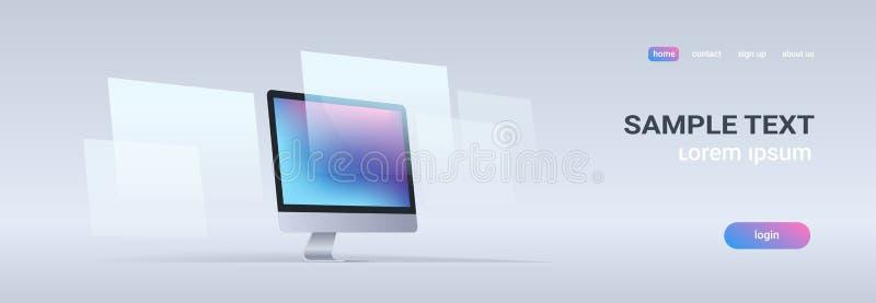 Bandeira horizontal do fundo cinzento desktop moderno do conceito da tecnologia digital de exposição de computador da placa da es ilustração do vetor