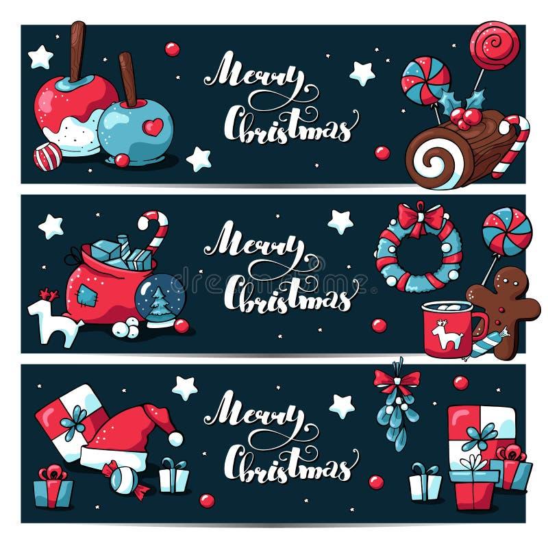Bandeira horizontal do Natal bonito ajustada com rotulação dos elementos e do Feliz Natal da garatuja Bandeiras para a Web ou o i ilustração royalty free
