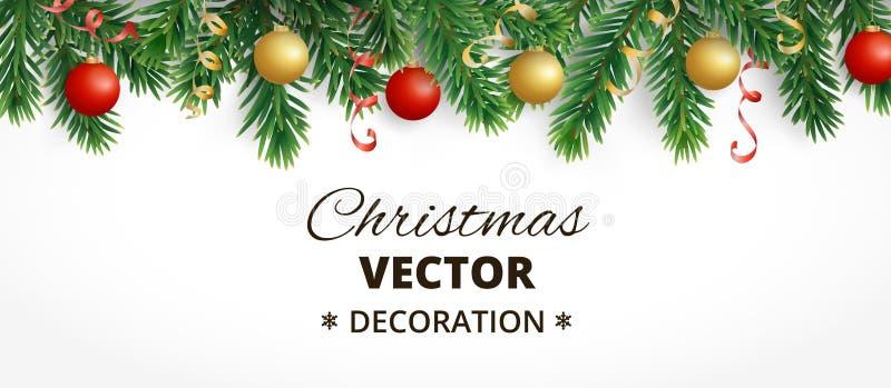 Bandeira horizontal do Natal com a festão da árvore de abeto, as bolas de suspensão e as fitas ilustração royalty free