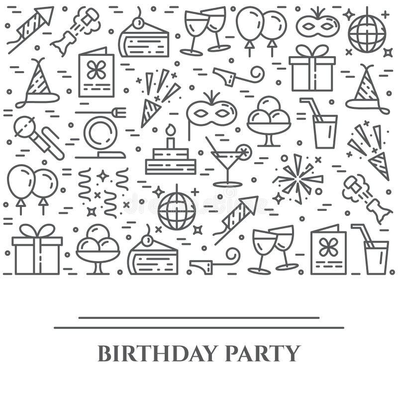 Bandeira horizontal do tema da festa de anos Grupo de elementos do bolo, do presente, do champanhe, do disco, do fogo de artifíci ilustração do vetor