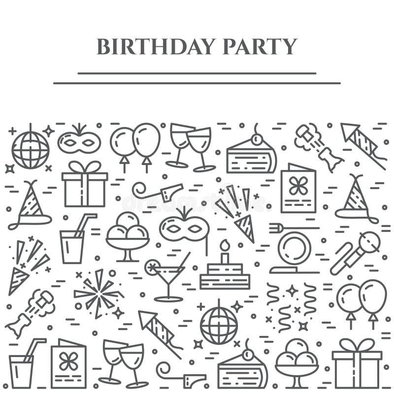 Bandeira horizontal do tema da festa de anos Grupo de elementos do bolo, do presente, do champanhe, do disco, do fogo de artifíci ilustração royalty free