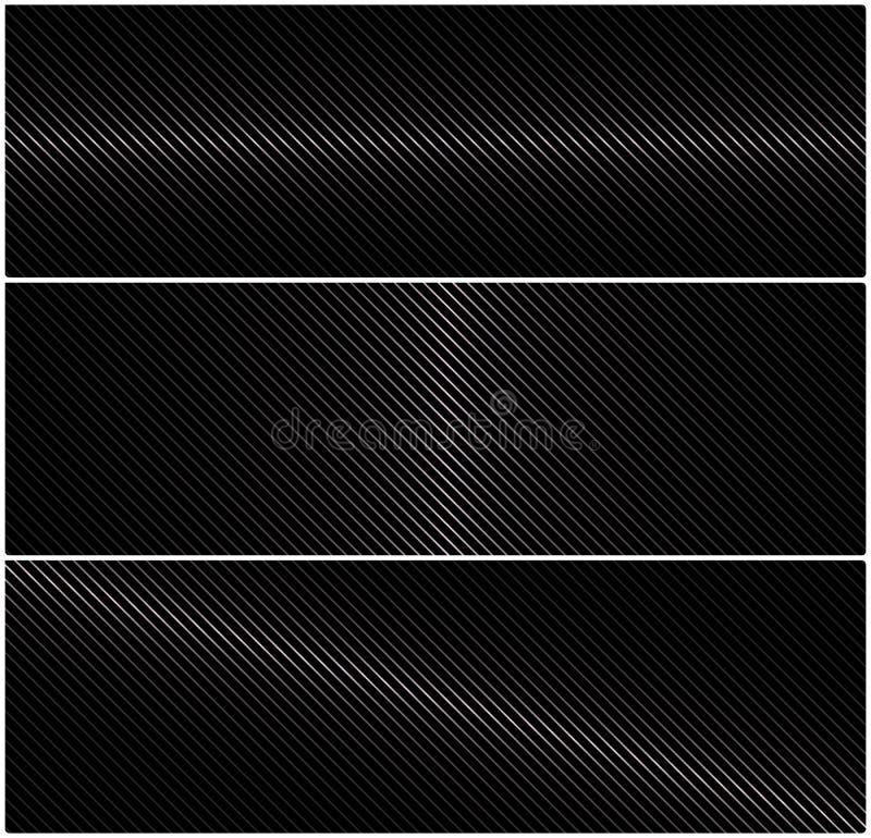 bandeira horizontal do vetor 3 abstrato com grade do metal em um fundo preto ilustração royalty free
