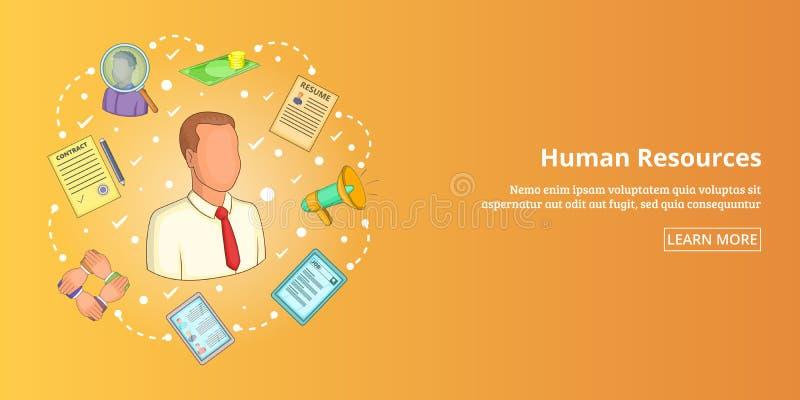 Bandeira horizontal, estilo dos recursos humanos dos desenhos animados ilustração stock