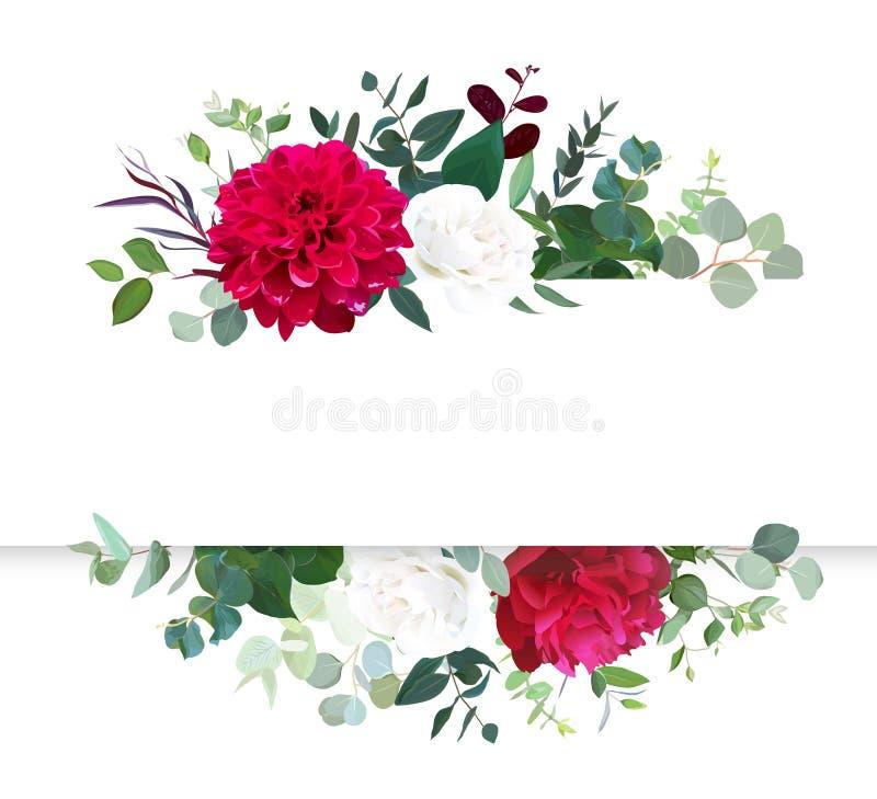 Bandeira horizontal floral do projeto do vetor do outono ilustração do vetor